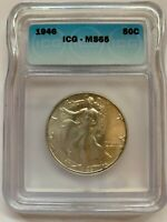 1946 WALKING LIBERTY HALF DOLLAR - CERTIFIED - MINT STATE 65 - BEAUTIFUL
