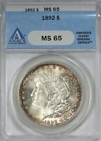 1892 MORGAN SILVER DOLLAR ANACS MINT STATE 65 -   DUSTY ROSE TONING BY EDGES