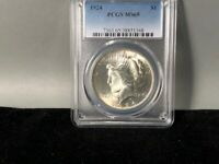1924-P PCGS MINT STATE 65 PEACE SILVER DOLLAR ORIGINAL BEAUTIFUL COIN LOTS OF LUSTER