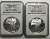 2 2006 W PROOFS SILVER EAGLE NGC PF69 FROM 20TH ANNIVERSARY SET BLACK LABEL