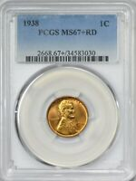 1938 LINCOLN CENT PCGS MINT STATE 67 RED - ONLY ONE FINER AT PCGS  FULL RED