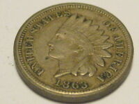 1863 COPPER NICKEL INDIAN HEAD CENT EXTRA FINE