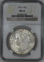 1902 S MORGAN SILVER DOLLAR S$1 NGC CERTIFIED MINT STATE 62 MINT STATE 020