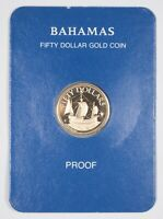 1985 $50.00 PROOF   COMMONWEALTH OF THE BAHAMAS GOLD COIN  901