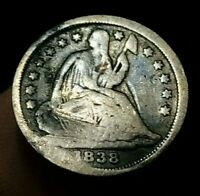1838 SEATED LIBERTY HALF DIME 5C NO DRAPERY TYPE UNGRADED US SILVER COIN CC1337
