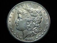 1902-S $1 MORGAN DOLLAR AU, BETTER DATE INTERESTING DIE GOUGE ON THE DATE