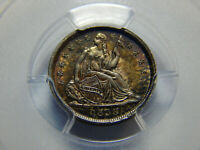 1838 H10C SEATED LIBERTY HALF DIME NO DRAPERY, SMALL STARS MINT STATE 64 PCGS/CAC,