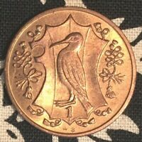 ISLE OF MAN ONE PENNY BIRD/ELIZABETH UNCIRCULATED WITH MAGENTA TONING 1987