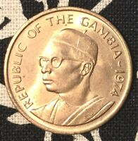 1974 GAMBIA 1 BUTUT FOOD FOR MANKIND PEANUT/JAWARA GORGEOUS UNCIRCULATED