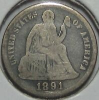 1891-S SEATED LIBERTY SILVER DIME, FINE  SHIPS FREE