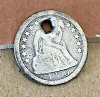 1850O SEATED LIBERTY DIME-AG-HOLED-VG DETAILS