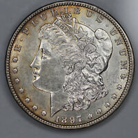 1897 MORGAN SILVER DOLLAR $1 VAM 6A CHOICE AU ABOUT UNC PITTED REVERSE 3481