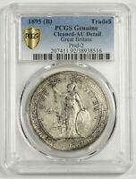 GREAT BRITAIN UK 1895 TRADE DOLLAR IN CHINA $1 SILVER COIN PCGS AU ALMOST UNC