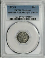 1863 S SEATED LIBERTY DIME 10C PCGS GENUINE CHOICE VF  FINE DETAILS 597