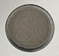 UNITED STATES 1876 - S ONE DIME 10 CENTS SEATED LIBERTY SILVER COIN