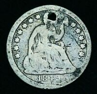 1849 SEATED LIBERTY HALF DIME 5C NORMAL DATE VARIETY TYPE US SILVER COIN CCC474