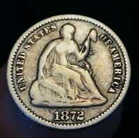 1872 SEATED LIBERTY HALF DIME 5C HIGHER GRADE CIRCULATED US SILVER COIN CC1279