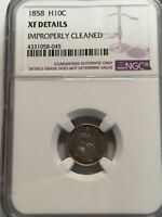 1858 SEATED HALF DIME 10C NGC EXTRA FINE  DETAILS, CLEANED