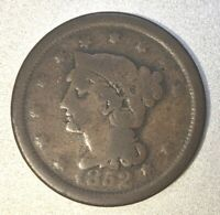 1852 BRAIDED HAIR LARGE CENT ONLY 5M MINTED