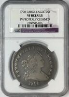1798 $1 DRAPED BUST DOLLAR LARGE EAGLE NGC VF DETAILS