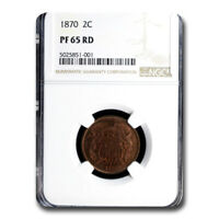 1870 TWO CENT PIECE PF-65 NGC RED - SKU210123