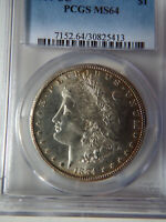 1884 CARSON CITY MORGAN DOLLAR - PCGS MINT STATE 64     LIGHTLY TONED