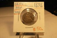 1838 SEATED LIBERTY HALF DIME  .. SHIPS FREE