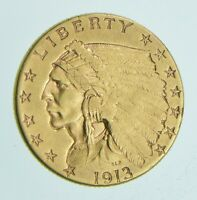 $2.50 UNITED STATES 90  US GOLD COIN   1913 INDIAN   NO RESE