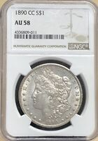 1890 CC MORGAN SILVER DOLLAR NGC AU58 KEY CARSON CITY COIN ALMOST UNCIRCULATED