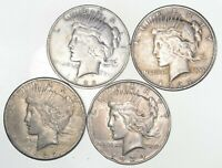 4 COIN US PEACE SILVER DOLLAR COLLECTION $1.00 1922 1935 LOT