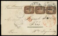 5 BROWN 29 STRIP OF THREE  1860 NEW ORLEANS LA COVER TO FRAN