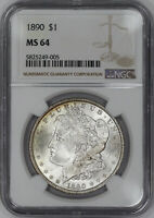 1890 MORGAN SILVER DOLLAR $1 NGC CERTIFIED MINT STATE 64 MINT STATE UNCIRCULATED 005