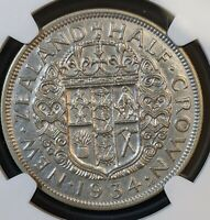 1934 NEW ZEALAND 1/2 CROWN SILVER NGC AU CLEANED 2ND YEAR OF THE SERIES