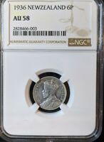 1936 NEW ZEALAND SIXPENCE SILVER NGC AU 58 6 PENCE