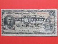 ARGENTINA   1895    ONE PESO BEAUTIFUL  BANK NOTE