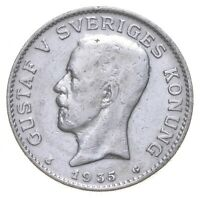 ROUGHLY THE SIZE OF A QUARTER   1935 SWEDEN 1 KRONA   WORLD