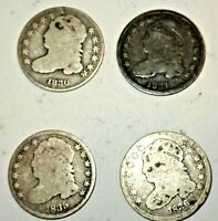 FOUR CAPPED BUST DIMES: 1830 1831 1835 1836