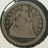 1842 SEATED LIBERTY SILVER DIME UNCERTIFIED