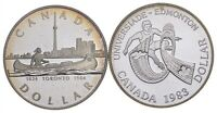 LOT OF 2 1983 & 1984 CANADA CANADIAN SILVER DOLLAR COIN .500