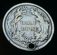 1861 SEATED LIBERTY HALF DIME 5C UNGRADED DETAILS WAR ERA US SILVER COIN CC1623