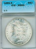 WHITE FLASHY 1889-S IN ICG NEAR GEM MINT STATE 64 GRADE - ALSO S/S ATTRIBUTION