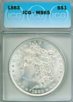 GREAT WHITE GEM 1883 MORGAN DOLLAR IN ICG MINT STATE 65 PLASTIC - REALLY, REALLY PRETTY