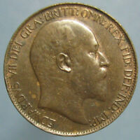 LUSTROUS BROWN UNCIRCULATED 1908 EDWARD VII BRITISH HALF PENNY