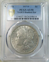 1901 MORGAN DOLLAR PCGS AU58 VAM 5 DOUBLED EAR HOT50