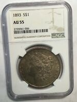 1893 NGC AU55 MORGAN SILVER DOLLAR KEY DATE UNC FROM ALBUM COLLECTION M10