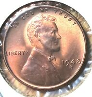 1948 S LINCOLN WHEAT CENT  MS MINT STATE GRADED FAIRLY BU UNC UNCIRCULATED