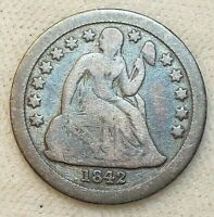 SEATED LIBERTY DIME  1842-O  VG