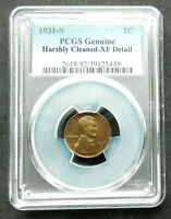 1931-S. 1C PCGS GENUINE, HARSHLY CLEANED-EXTRA FINE  DETAIL. LINCOLN CENT