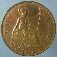 1928 GEORGE V PENNY   BROWN UNCIRCULATED WITH A BIT OF RED ON THE REVERSE