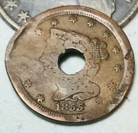 1855 BRAIDED HAIR HALF CENT 1/2C UNGRADED DETAILS DAMAGED US COPPER COIN CC1976